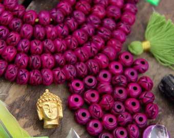 Fuschia <+>+ : Bright Pink Painted Carved Bone Beads, 7x10mm, Handmade, Natural Tribal Craft Jewelry Making Supplies, Boho, Beach, 29 pcs