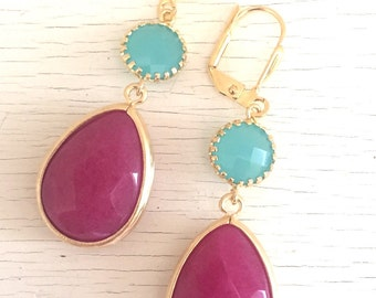 Summer Jewel Dangle Earrings with Fuchsia Teardrop and Turquoise Circle Jewels. Long Dangle Earrings.Holiday Jewelry. Christmas Gift.