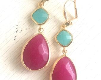 Dangle Earrings Fuchsia Teardrop and Turquoise Stones. Long Dangle Earrings. Wedding Jewelry. Gift. Bridesmaid Jewelry. Statement. Drop.