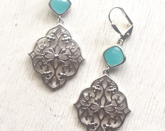 Silver Filigree Dangle Earrings with Turquoise Blue Jewels. Large Silver Dangle Earrings.  Wedding Jewelry.  Gift for Her.  Jewelry Gift.