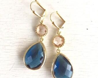 Wedding Earrings. Navy Earrings. Champagne Peach Earrings.  Bridesmaid Jewelry. Drop Earrings. Dangle Earrings. Gift. Gold Earrings. Bridal.