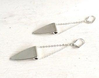 Silver Triangle Chain Earrings.  Drop. Dangle. Silver Jewelry. Geometric Jewelry. Jewelry Gift.  Dangle Earrings. Modern Earrings.