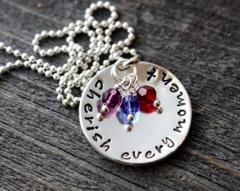 Cherish Every Moment Sterling Silver Pendant and Swarovski Birthstone Necklace- Hand Stamped Grandma Grandmother Mom Mother Jewelry