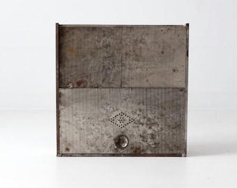 vintage bread box, metal kitchen storage cabinet