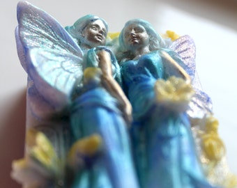 FAIRY SOAP, Hand Painted o Purple and White Fairy Twins Soap, Princesses Soap, Angels Soap, Fairy Princess Soap