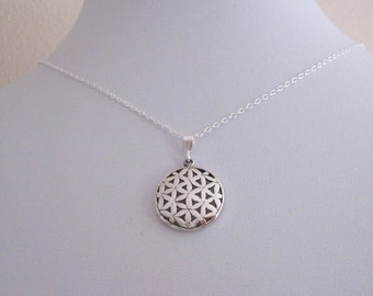 FLOWER of LIFE sacred geometry sterling silver round pendant with chain necklace