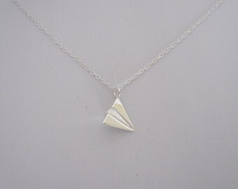 Small ORIGAMI 3D PAPER PLANE sterling silver charm delicate necklace, minimalistic jewelry