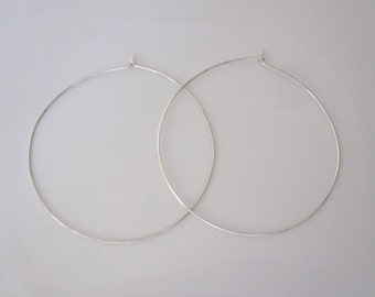 "Big 2.5"" sterling silver square wire hoop earrings, modern hoops earrings"