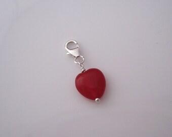 Magenta pink HEART sterling silver clip on charm for bracelet or necklace, fits link bracelet