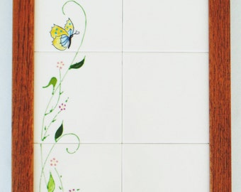 Empty Nest Tile Notes Wall Hanging Dry Erase Board Spring Flowers With Butterfly Hand Crafted PRISTINE