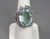 Mexican Statement Ring, Faceted Blue Topaz, Sterling Silver, Vintage Mexican Jewelry, Taxco, Size 7, Signed Jewelry