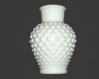 Vintage Hobnail Vase, Milk Glass