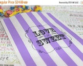 XOXO SALE Personalized Candy Bags, Purple Stripe Party Bags, LOVE Is Sweet Favor Bags, Wedding Candy Bags, Popcorn Bags, Purple Candy Bags -