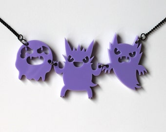 Ghost Type lilac pendant on black chain necklace