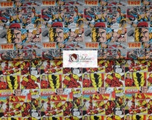 Camelot Cottons. Thor and Iron Man - Cotton Fabric - Choose your cut and print