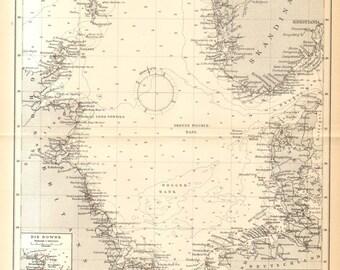 1895 Antique Sea Chart, Nautical Chart of the Coastal Region of the North Sea