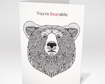 Cynical Sarcastic Valentine Card | 'You're Bearable' Funny Valentine Card | Cynical Valentine Card | Card for him | Anti Valentine