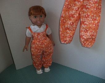 Orange Floral Print Jumpsuit & Peasant Blouse for 18 inch dolls