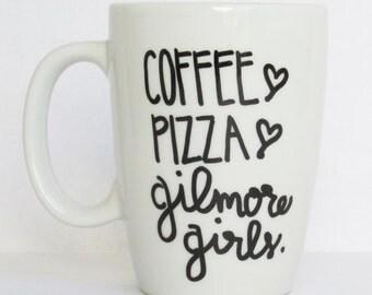Coffee Pizza Gilmore Girls - Cute Gilmore Girls inspired Coffee Mug 11 oz