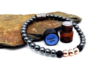 EO Diffuser Bracelet || Lava Rock || Aromatherapy|| Genuine Copper || FREE Essential Oil || Yoga Reiki