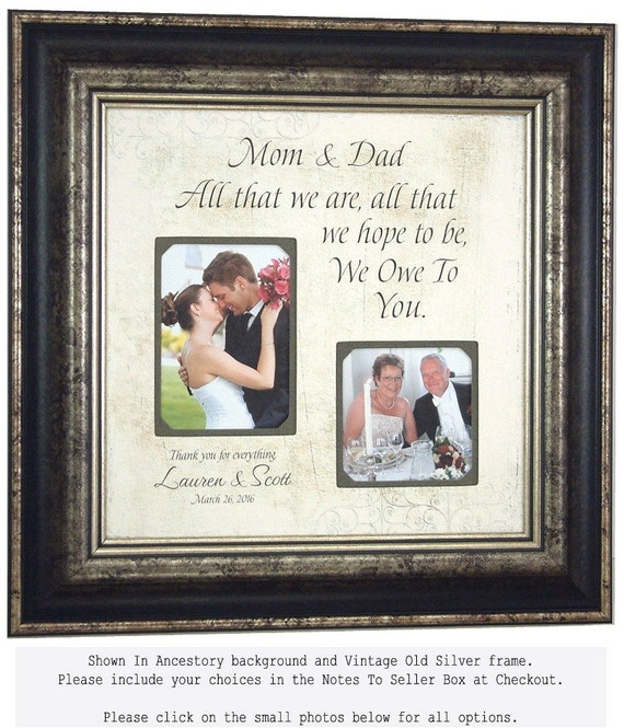 Parents Thank You Personalized Burlap Photo Picture Frame with All That We Are quote, Personalized Wedding sign for parents, 16 X 16
