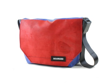 Messenger Bag made from Upcycled Truck Tarp, Laptop Bag, Courier Bag, Eco Friendly and Handmade (L03)