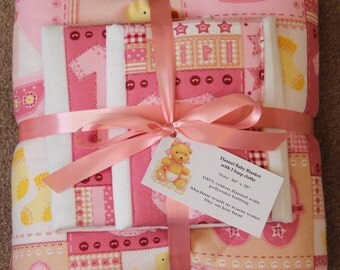 Baby Blanket Set with 2 Burp Cloths #1G-718