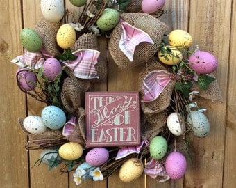AG Designs Burlap Grapevine Wreath - The Glory of Easter Speckled Eggs #36/21