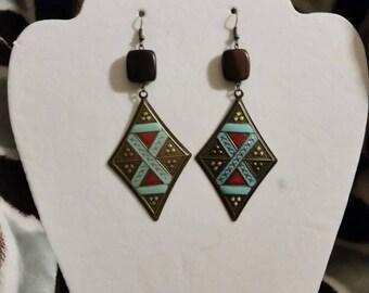 Boho style earrings, tribal, ethnic, metal , wood, gypsy