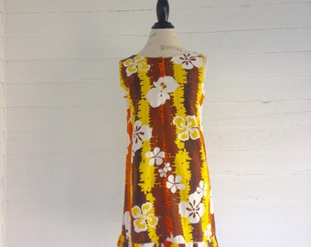 Vintage 60s PSYCHEDELIC Floral Mini Dress