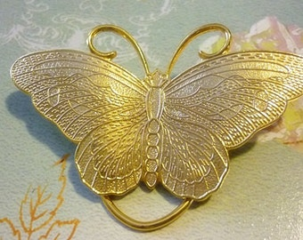 Large Gold Butterfly Scarf Clip,Vintage Butterfly Clip
