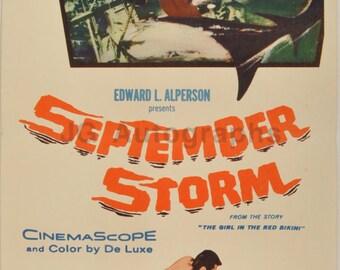 September Storm - Vintage Insert Movie Poster - Joanne Dru, 1960