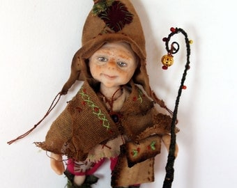 Handmade Miniature Dollhouse Gnome Grandfather OOAK 12th Scale