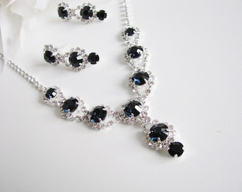 Montana Blue 2 piece set Wedding Necklace Bridal Necklace - Bridal Jewelry - Wedding Necklace - bridal set- Backdrop Bridal Necklace
