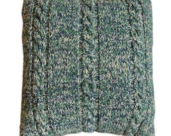 Handknitted Cushion - Green(ish)