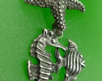 Vintage Nautical Pendant : Sterling  Seashore  Starfish - Seahorse - Fish   (66.053)