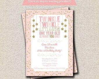 Twinkle Twinkle Little Star Invitation, Twinkle Twinkle Little Star First Birthday, Twinkle Twinkle Little Star Baby Shower