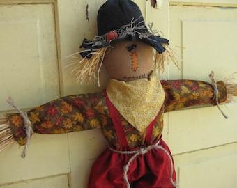 Primitive Scarecrow Doll - Fabric - Hanging Door Greeter - Fall Door Hanger - Primitive Country Scarecrow Wall Hanging - Autumn Home Decor
