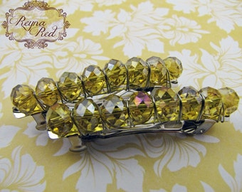 Birthstone Crystal Barrettes - November - Citrine - Set of 2 - faceted crystal barrettes for girls, teens, and women by reynared
