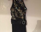 Black and Gold Sequins Fringe Flapper Kids Dance Costume