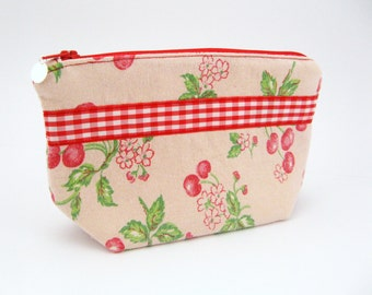 Cherry Bomb Linen Zipper Pouch for Cosmetics, First Aid - Storage for Purse - Baby, Makeup, Tea Bags