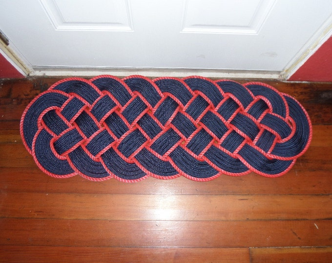 "38"" x 15"" Rope Rug Navy Blue & Red Nautical Sailors Marine Ocean Beach Knotted Woven Door Mat"