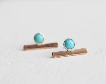 Turquoise Bar Studs | 14k Gold Fill
