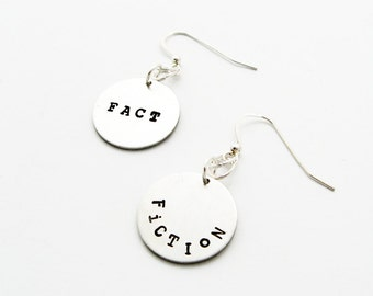Word Earrings - Fact or Fiction - Jewelry for Librarian, Writer
