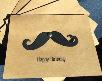 "Moustache ""Happy Birthday"" Cards (Set of 4)"