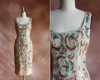 vintage 1950's stunning beaded metallic gold lace cocktail wiggle dress / size xs