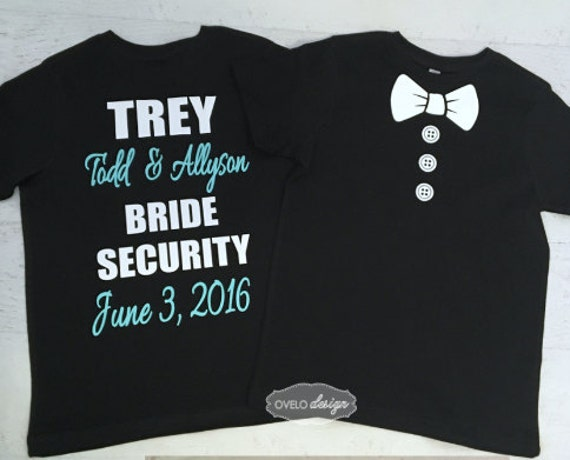 Custom Ring Security Ring Bearer T-shirt on Back Bow Tie with Buttons on Front Wedding Date and Bride and Groom Names Added