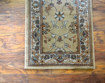 Baroque Runner Rug Early 90s Tan Beige Long Vintage Floral Hallway Accent Rug