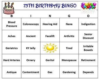75th Birthday Party Bingo Game (60 Cards)  Old Age Theme Bingo Words -Very Funny! Print and Play!