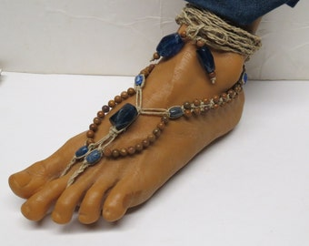 SALE Pair of Blue quartz gemstone, sodalite, and tigerskin jasper stone Gladiator style barefoot sandals. Beach fashion. HFT-A241